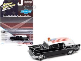 1957 Chevrolet Hearse Black White Top American Flag Graphics 1/64 Diecast Model Car Johnny Lightning JLSP144