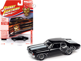 1971 Chevrolet Chevelle SS 454 Tuxedo Black White Stripes Class of 1971 Limited Edition 7754 pieces Worldwide Muscle Cars USA Series 1/64 Diecast Model Car Johnny Lightning JLMC026 JLSP154 B