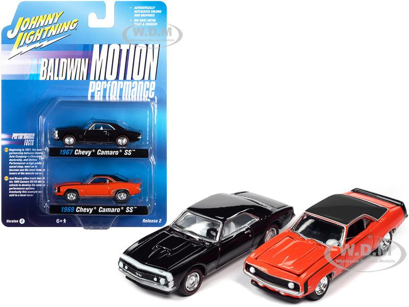1969 Chevrolet Camaro SS Orange 1967 Chevrolet Camaro SS Royal Plum Dark Purple Baldwin Motion Performance Set of 2 pieces 1/64 Diecast Model Cars Johnny Lightning JLPK013 JLSP162 B