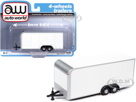 4-Wheel Enclosed Car Trailer White 1/64 Diecast Model Autoworld AWSP072 A