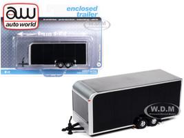 4-Wheel Enclosed Car Trailer Black 1/64 Diecast Model Autoworld AWSP072 B