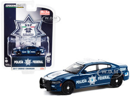2017 Dodge Charger Dark Blue White Policia Federal Mexico Federal Police Limited Edition 3300 pieces Worldwide 1/64 Diecast Model Car Greenlight 51381