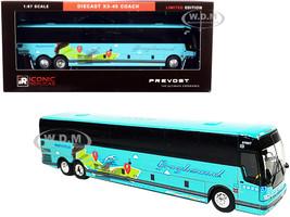 Prevost X3-45 Coach Bus Dallas Greyhound Go Far Turquoise 1/87 HO Diecast Model Iconic Replicas 87-0274