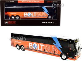 Prevost X3-45 Coach Bus Bolt for a Buck Orange White Bolt Bus 1/87 HO Diecast Model Iconic Replicas 87-0276