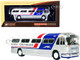 1959 GM PD4104 Motorcoach Bus Seoul Korea Greyhound Silver White Red Blue Stripes Vintage Bus & Motorcoach Collection 1/87 HO Diecast Model Iconic Replicas 87-0299