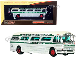 1959 GM PD4104 Motorcoach Bus Hamilton Canada Coach Lines Silver Cream Green Stripes Vintage Bus & Motorcoach Collection 1/87 HO Diecast Model Iconic Replicas 87-0300