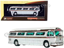 1959 GM PD4104 Motorcoach Bus Tijuana Tres Estrellas de Oro Mexico Silver White Brown Stripes Vintage Bus & Motorcoach Collection 1/87 HO Diecast Model Iconic Replicas 87-0301
