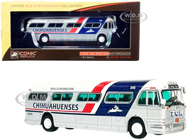 1959 GM PD4104 Motorcoach Bus El Paso Texas Chihuahuenses Silver White Red Blue Stripes Vintage Bus & Motorcoach Collection 1/87 HO Diecast Model Iconic Replicas 87-0315