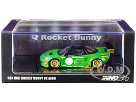 NSX NA Rocket Bunny V2 Aero RHD Right Hand Drive Green Metallic Black 1/64 Diecast Model Car Inno Models IN64-NSXP-GRE