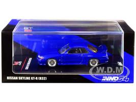 Nissan Skyline GT-R R32 RHD Right Hand Drive Blue Metallic Extra Wheels Decals 1/64 Diecast Model Car Inno Models IN64-R32-BLU