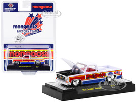 1979 Chevrolet Silverado Pickup Truck Mongoose White Red Blue Stripes Red Interior Limited Edition 8250 pieces Worldwide 1/64 Diecast Model Car M2 Machines 31500-HS19