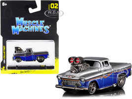 1955 Chevrolet Cameo Pickup Truck Gray Blue Metallic with Flames 1/64 Diecast Model Car Muscle Machines 15526-15553