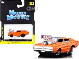 1966 Dodge Charger 426 C.I. Orange Blue Stripe 1/64 Diecast Model Car Muscle Machines 15542