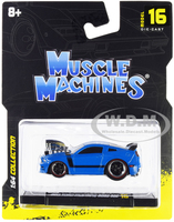 2013 Ford Mustang Boss 302 Light Blue Black Stripes 1/64 Diecast Model Car Muscle Machines 15544