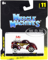 1941 Willys Coupe Gasser Competition Cams Red Metallic White 1/64 Diecast Model Car Muscle Machines 15549