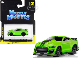 2020 Ford Mustang Shelby GT500 Bright Green Black Stripes 1/64 Diecast Model Car Muscle Machines 15550