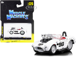 1964 Shelby Cobra #98 White Red Interior 1/64 Diecast Model Car Muscle Machines 15551