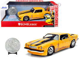1977 Chevrolet Camaro Yellow Weathered Bumblebee Robot on Chassis Collectible Metal Coin Transformers Movie 1/24 Diecast Model Car Jada 99307