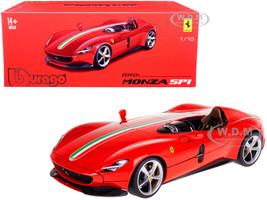 Ferrari Monza SP1 Red with Italian Flag Stripes Signature Series 1/18 Diecast Model Car Bburago 16909