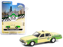 1987 Chevrolet Caprice Yellow Green Chicago Checker Taxi Affl Inc. Hobby Exclusive 1/64 Diecast Model Car Greenlight 30233