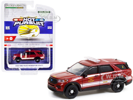 2020 Ford Police Interceptor Utility Red Metallic White Stripes Detroit Fire Department Hot Pursuit Series 1/64 Diecast Model Car Greenlight 30257