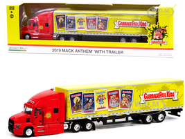 2019 Mack Anthem 18-Wheeler Tractor-Trailer Red Yellow Garbage Pail Kids Hobby Exclusive 1/64 Diecast Model Greenlight 30262