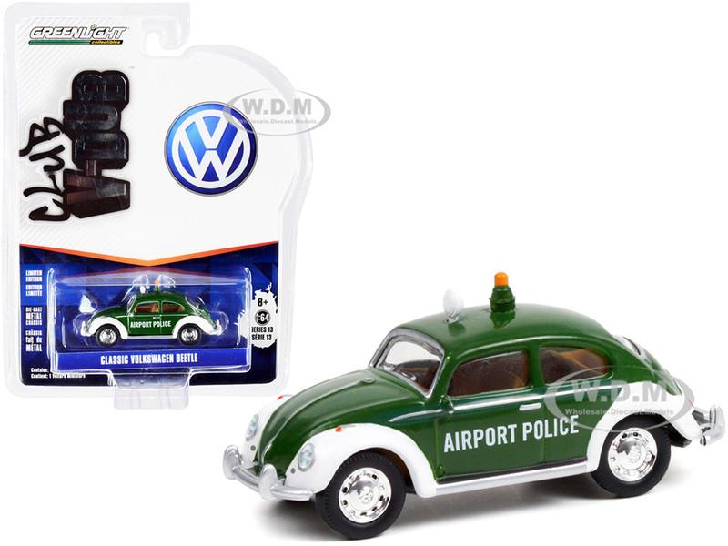 Classic Volkswagen Beetle Green White Copenhagen Airport Police Denmark Club Vee V-Dub Series 13 1/64 Diecast Model Car Greenlight 36030 D