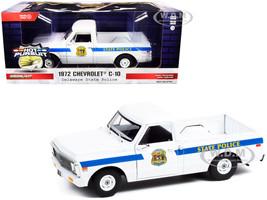 1972 Chevrolet C-10 Pickup Truck White Blue Stripes Delaware State Police Hot Pursuit Series 1/24 Diecast Model Car Greenlight 85531