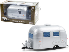 Airstream 16' Bambi Sport Camper Travel Trailer Silver Curtains Drawn Hitch & Tow Trailers Series 6 1/24 Diecast Model Greenlight 18460 A