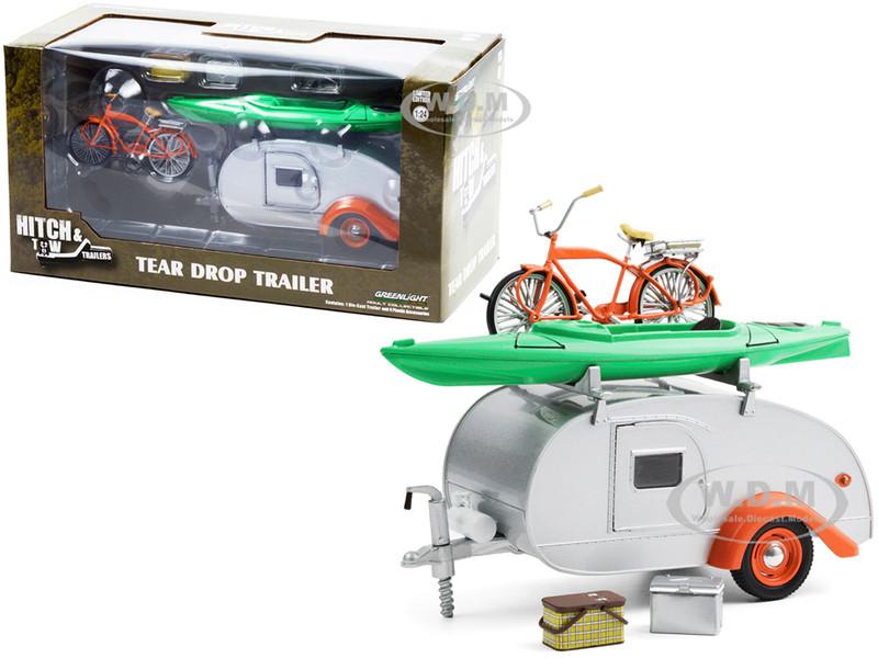 Teardrop Camper Travel Trailer Roof Rack Silver Orange Trim 4 Accessories Hitch & Tow Trailers Series 6 1/24 Diecast Model Greenlight 18460 B
