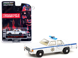 1983 Ford LTD Crown Victoria Police White Terminator 2 Judgment Day 1991 Movie Hollywood Series Release 32 1/64 Diecast Model Car Greenlight 44920 D