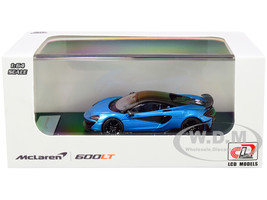McLaren 600LT Light Blue Metallic Carbon Top Carbon Accents 1/64 Diecast Model Car LCD Models 64007
