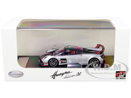 Pagani Huayra Roadster BC Silver Metallic Carbon Red White Stripes 1/64 Diecast Model Car LCD Models 64011