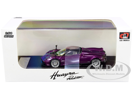 Pagani Huayra Roadster Purple Metallic Carbon Top Carbon Accents 1/64 Diecast Model Car LCD Models 64015