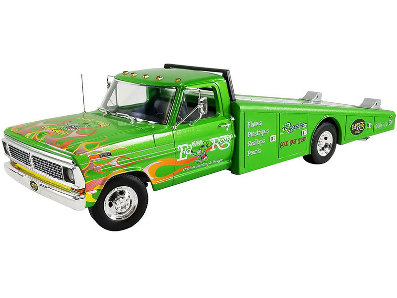 1970 Ford F350 Ramp Truck Sewer Green Flames Graphics Rat Fink Limited Edition 880 pieces Worldwide 1/18 Diecast Model Car ACME A1801414