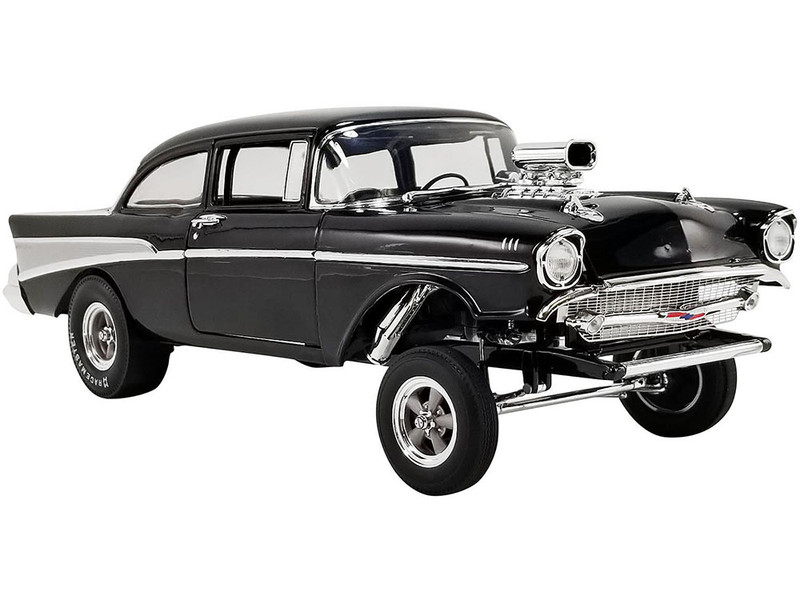 1957 Chevrolet Bel Air Gasser Night Stalker Black Limited Edition 1500 pieces Worldwide 1/18 Diecast Model Car ACME A1807010
