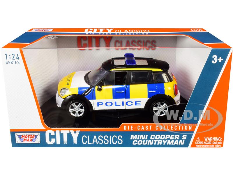Mini Cooper S Countryman Police Car City Classics Series 1/24 Diecast Model Car Motormax 79751