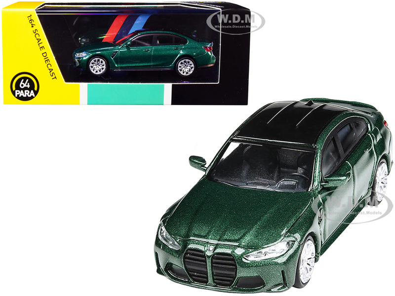 BMW M3 G80 Isle of Man Green Metallic Black Top 1/64 Diecast Model Car Paragon PA-55201