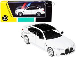 BMW M3 G80 Frozen Brilliant White Metallic Black Top 1/64 Diecast Model Car Paragon PA-55202