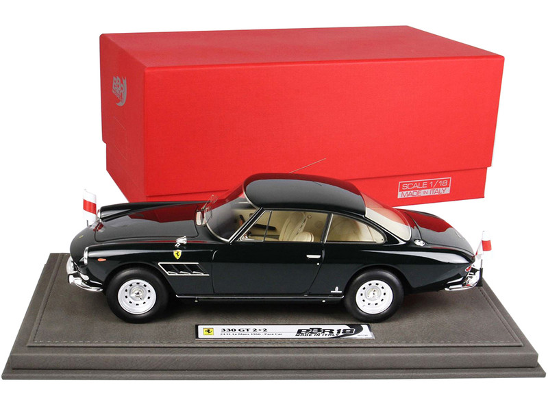 Ferrari 330 GT 2+2 Series Pace Car Black 24 Hours Le Mans 1966 DISPLAY CASE Limited Edition 199 pieces Worldwide 1/18 Model Car BBR 1858