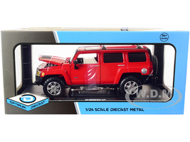 Hummer H3 Red 1/24 Diecast Model Car Optimum Diecast 724240