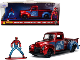 1941 Ford Pickup Truck Candy Red Blue Proto-Suit Spider-Man Diecast Figurine Marvel Series Hollywood Rides Series 1/32 Diecast Model Car Jada 33075