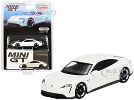 Porsche Taycan Turbo S White Limited Edition 2400 pieces Worldwide 1/64 Diecast Model Car True Scale Miniatures MGT00218