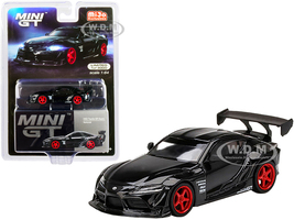 Toyota GR Supra HKS Nocturnal Black Red Wheels Limited Edition 3000 pieces Worldwide 1/64 Diecast Model Car True Scale Miniatures MGT00226