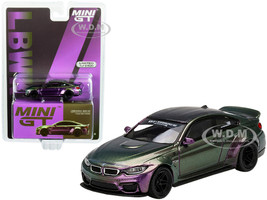 BMW M4 LB Works Purple Green Metallic Carbon Top Limited Edition 2400 pieces Worldwide 1/64 Diecast Model Car True Scale Miniatures MGT00228