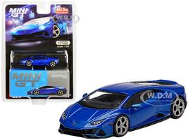 Lamborghini Huracan EVO Blue Eleos Metallic Limited Edition 2400 pieces Worldwide 1/64 Diecast Model Car True Scale Miniatures MGT00229