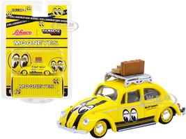 Volkswagen Beetle Low Ride Yellow Roof Rack Luggage Mooneyes Collaboration Model 1/64 Diecast Model Car Schuco & Tarmac Works T64S-006-ME1