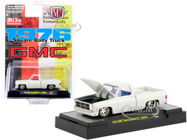 1976 GMC Sierra Grande 15 Custom Square Body Pickup Truck White Limited Edition 1200 pieces Worldwide 1/64 Diecast Model Car M2 Machines 31500-MJS13