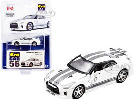 Nissan GT-R R35 Saurus RHD Right Hand Drive White Gray Stripes Limited Edition 1200 pieces 1/64 Diecast Model Car Era Car NS21GTRRN56