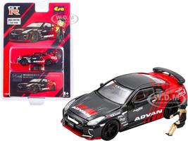 Nissan GT-R R35 RHD Right Hand Drive Advan Red Carbon Fiber Female Driver Figurine Limited Edition 1200 pieces 1/64 Diecast Model Car Era Car NS21GTRSP56